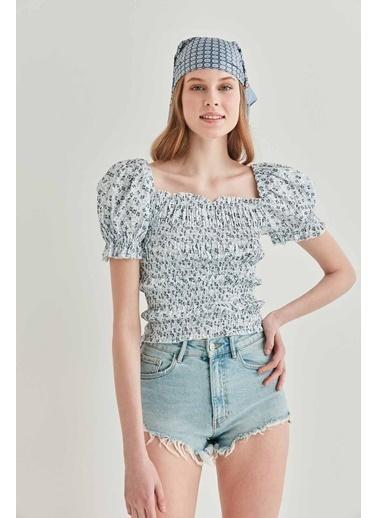 Vitrin Çiçek Desenli Gipeli Mini Bluz Gri